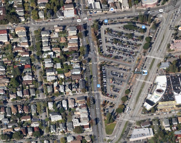 The Adeline Street planning project is picking up steam. Image: Google maps