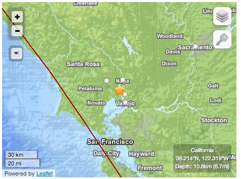 Map showing epicenter of Aug. 24 earthquake. Source: USGS
