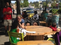 Berkeley's first parklet has opened outside the Cheese Board Collective at xxxx Shattuck Ave. Photo: Colleen Neff