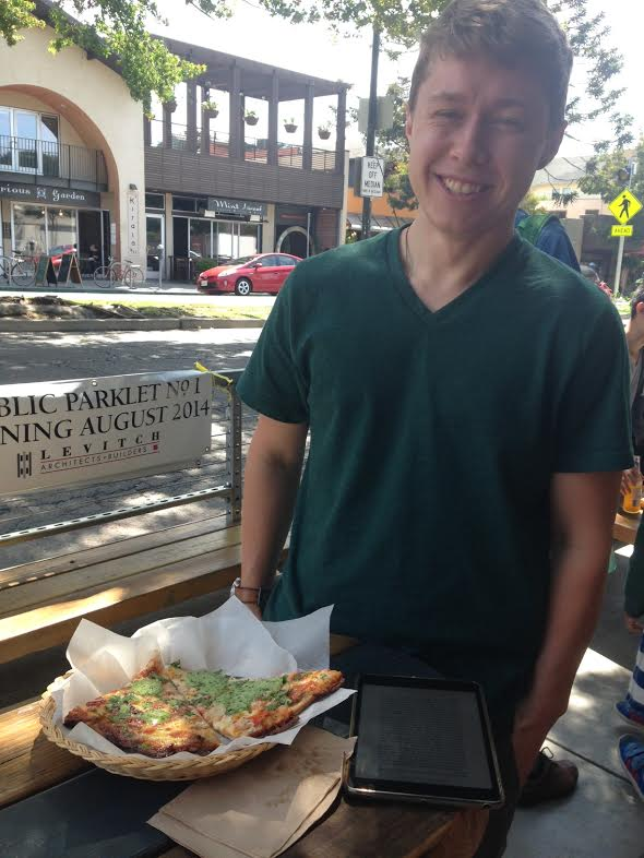 A serving of pizza on Tuesday Aug. 12 at Berkeley's first parklet. Photo: Colleen Neff