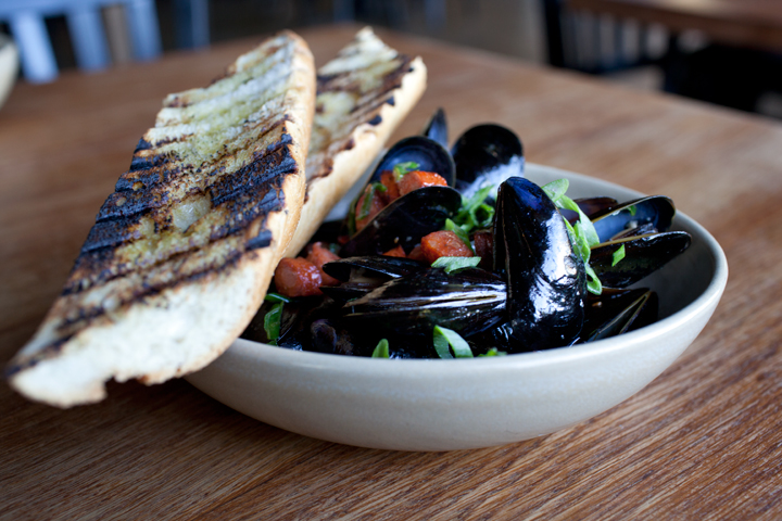 Mussels with chorizo and white wine, Townie in Berkeley. Photo: Emilie Raguso