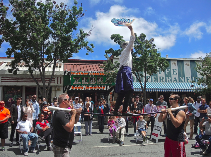 Performers entertain the crowd at Sundays on Telegraph. Photo: Ted Friedman