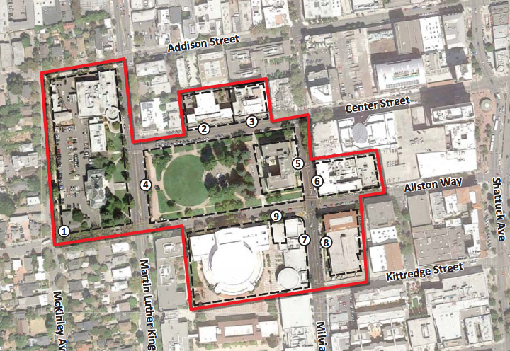 The Berkeley City Council is poised to set up new zoning standards in Civic Center. Image: City of Berkeley