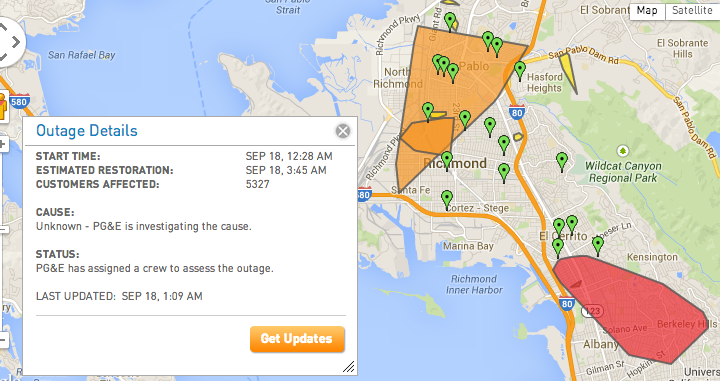 Update: PG&E outage in North Berkeley, El Cerrito, Richmond, San