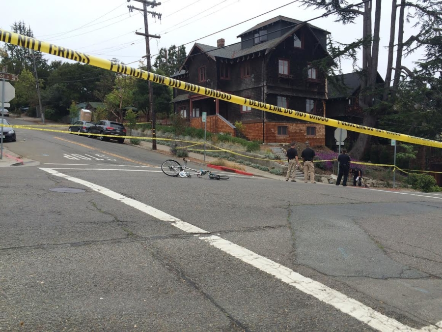A cyclist was struck by a car Sunday morning at the intersection of Spruce and Eunice. Photo: Larry Kudsk