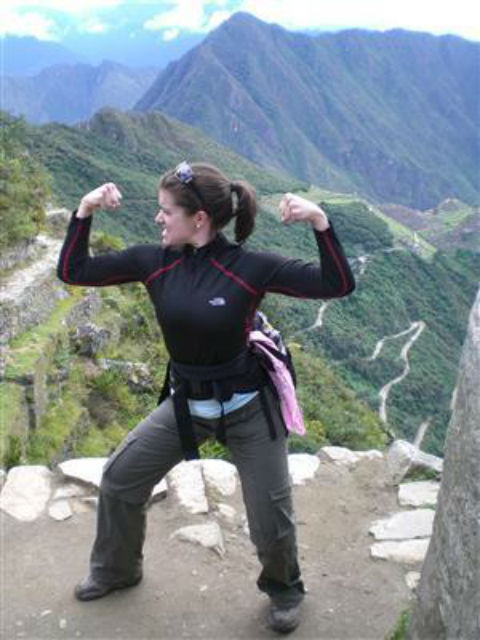 Rebecca Alexander celebrating her ascent of a mountain in Peru.