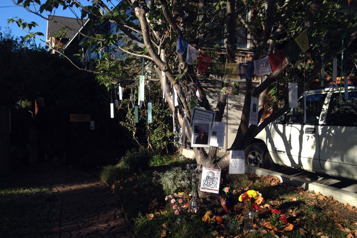A tree outside the Berkeley Zen Center has become a memorial to Nancy McClellan. Photo: Emilie Raguso
