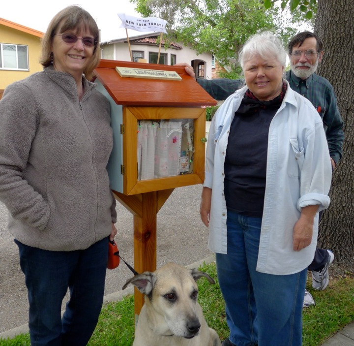 This library is on Parker Street. From left to right: library steward Barbara Shayesteh, Linda Davis and Chris Witt. Photo: Colleen Neff