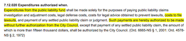The Berkeley Municipal Charter gives the city special permission for spending city money when it comes to lawsuits.