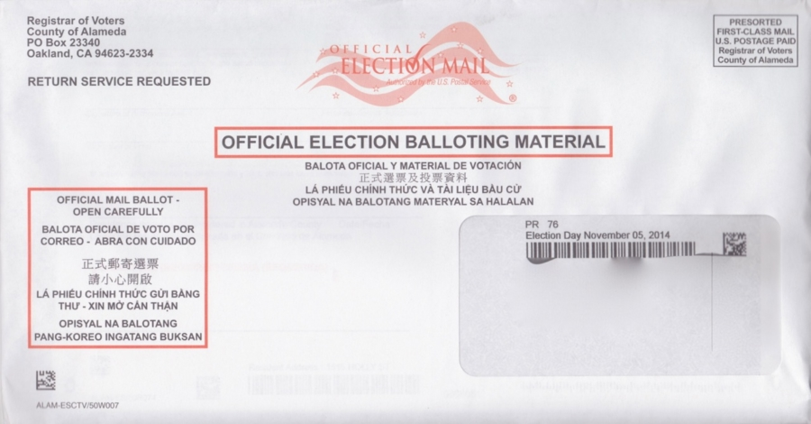 Alameda County officials are mailing out postcards to alert voters that the date of the election printed on mail-in ballots is wrong. It reads Nov. 5, 2014, when it should read Nov. 4, 2014. Photo: KQED