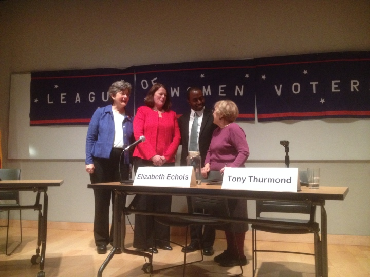 The debate was hosted by the League of Women Voters and moderated by the California chapter President Helen Hutchinson. Photo: Natalie Orenstein
