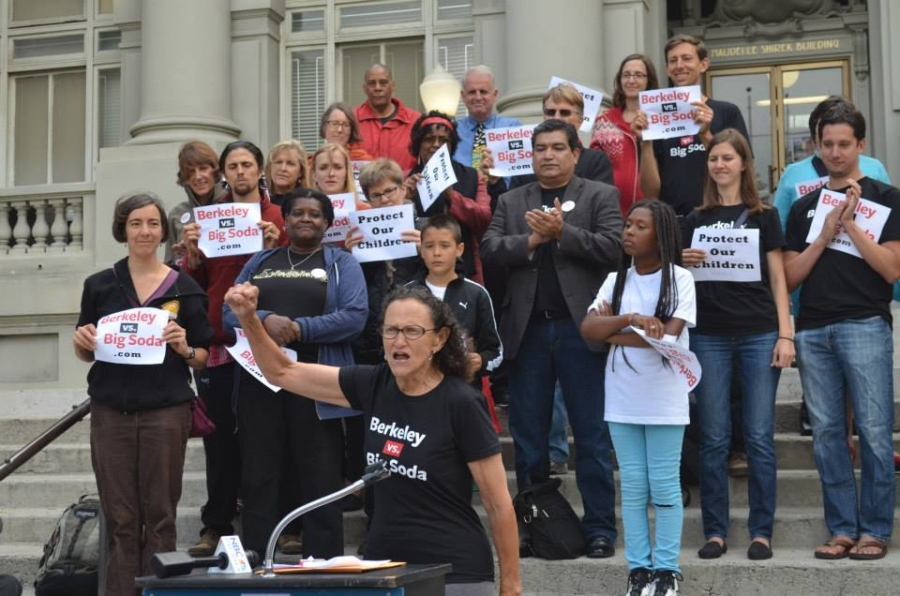 Vicki Alexander, co-chair of the Yes on D campaign, spoke at a pro-soda tax demo outside Old City Hall in July. Photo: Berkeley vs Big Soda