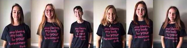 The student leaders of an anti-sexual harassment campaign model the t-shirts they'll distribute on campus. Photo: Brea Kaye