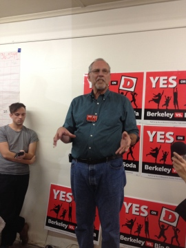 City Councilman Laurie Capitelli addresses the crowd at the Yes on Measure D headquarters Tuesday night. Photo: Frances Dinkelspiel