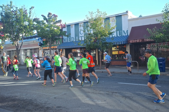 Running pass Caffe Med on Telegraph Avenue. Photo: Ted Friedman