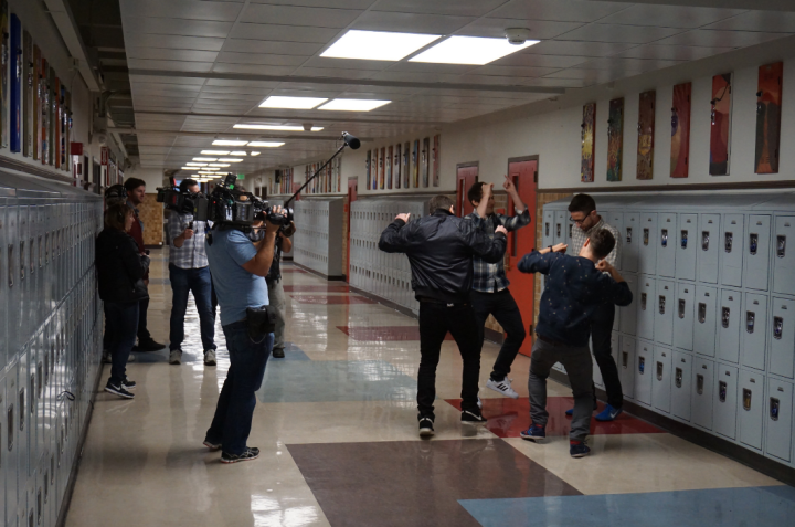 The Lonely Island trio and friend shooting a new project in the corridors of Berkeley High School, their alma mater. Photo: Mark Coplan/BUSD