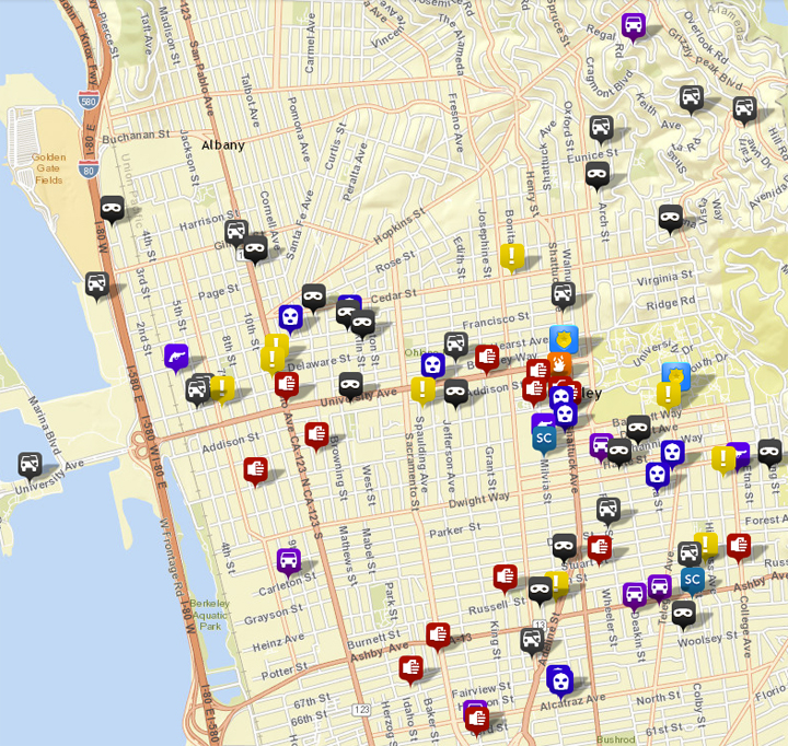 Selected calls for service to the Berkeley Police, via CrimeMapping.com. (Scroll down for maps of robberies, burglaries, auto burglaries and auto thefts.) Click the map for the full list. See the map key here.