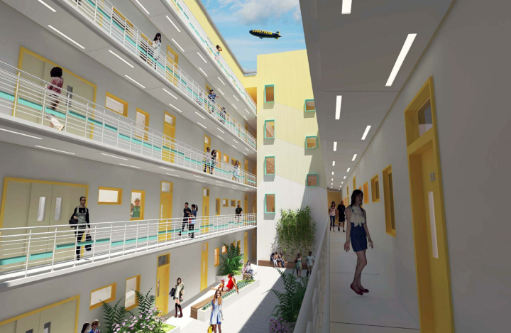 A rendering of an internal courtyard now planned for 2539 Telegraph Ave. Photo: Panoramic Interests