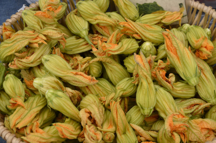 Squash blossoms from Happy Boy Farms at the Berkeley Farmers Market. Photo: William Newton