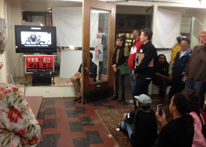 The Yes on D team watching a Berkeley Council meeting about the soda tax in 2013. Photo: Frances Dinkelspiel