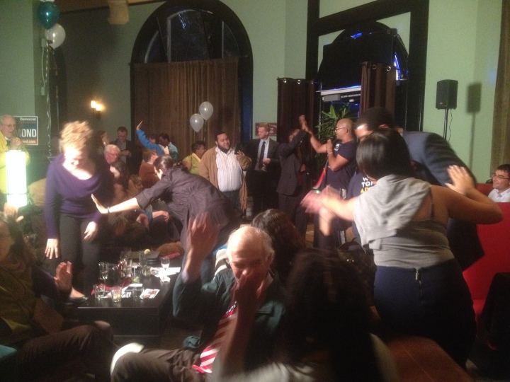 Supporters hugged and high-fived at Tony Thurmond's festive campaign headquarters on Election Night. Photo: Natalie Orenstein