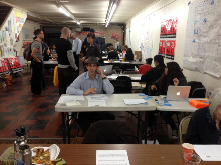 The scene at the Yes on D headquarters in downtown Berkeley. Photo: Frances Dinkelspiel