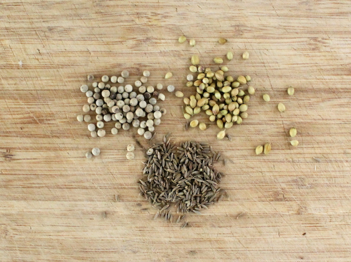"The ""trinity"" of curry paste spices is made up of whole cumin, coriander, and white peppercorns, which are toasted and ground before using. Additionally, I like to add fennel seeds and curry powder to my yellow curry and mustard seeds to my green curry. Photo: Kate Williams"