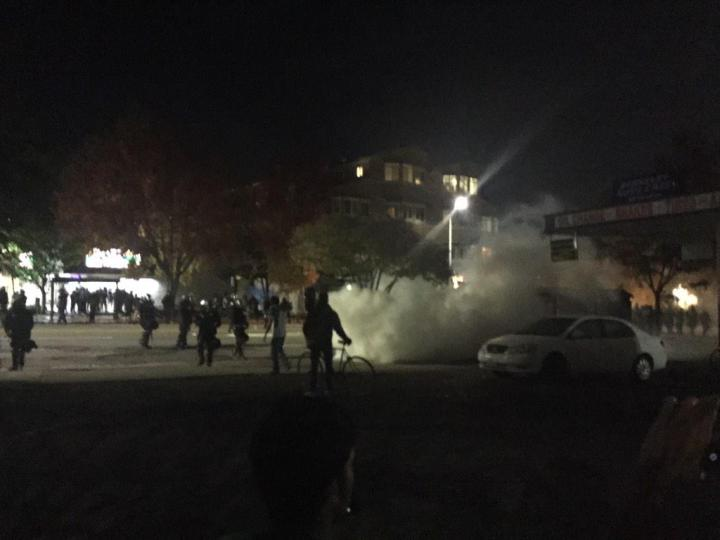 Police released a second round of what protestors said was some kind of gas shortly after 1 a.m. Photo: Evan Hofberg