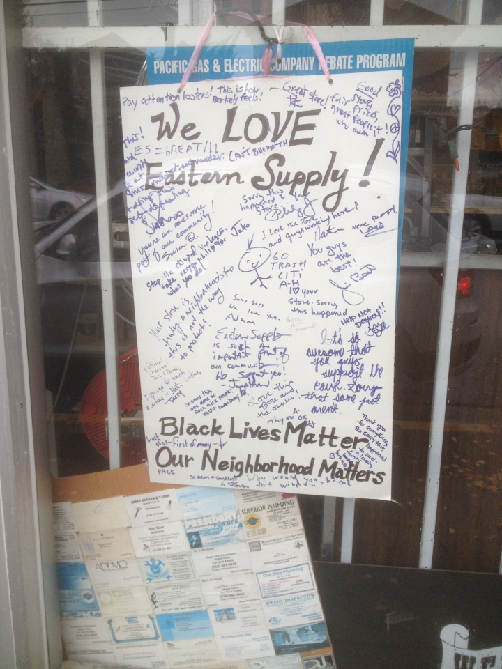 After protesters broke windows at True Value Eastern Supply, neighbors made this sign in support of the hardware store. Photo: Natalie Orenstein