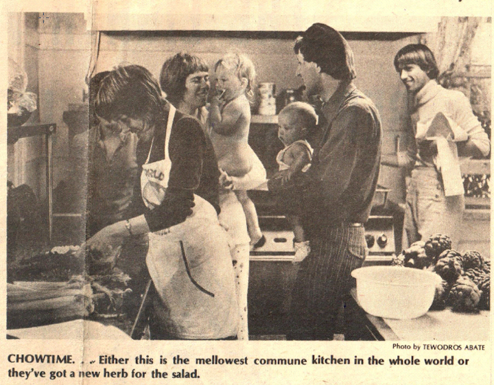 One World Family kitchen. Photo: Daily Californian, May 10, 1974