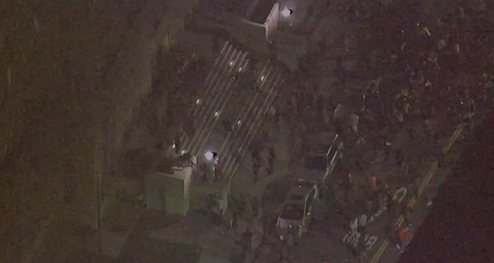 This shot from ABC news shows demonstrators swarming up the stairs.