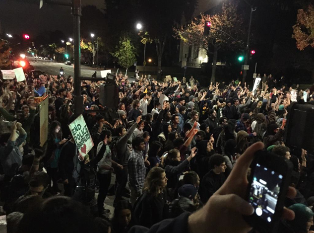Protesters marching on Shattuck. from where they made their way onto University and headed west. Photo: Emilie Raguso
