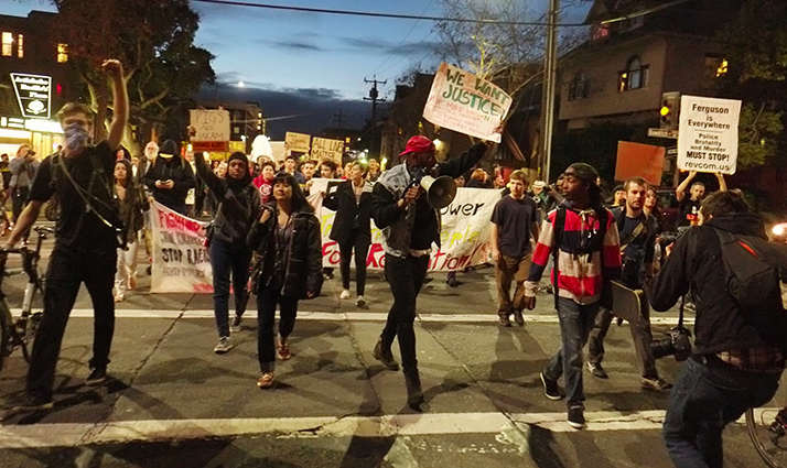 The beginning of the march as it went through Southside Berkeley. Photo: David Yee