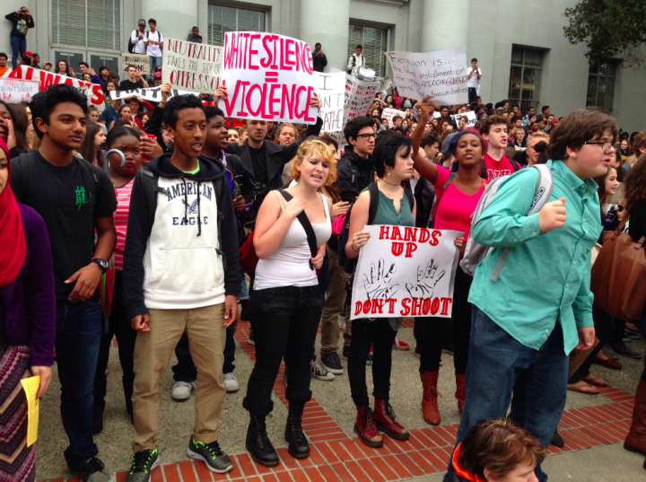 "BHS students chant ""You're the ones who showed us how -- UC Berkeley join us now!"" on the Cal campus. Photo: Tracey Taylor"