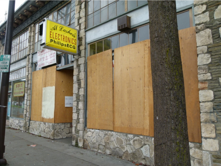 Al Lasher's Electronics at 1734 University Ave. put plywood on the windows as a precautionary measure. Photo: Jef Poskanzer