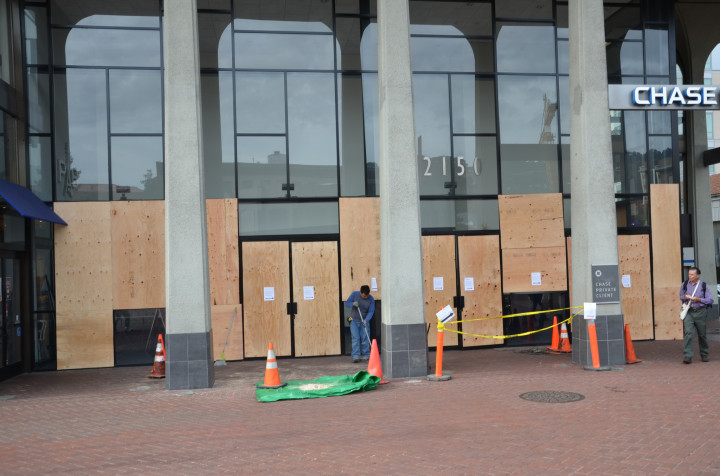boarding up after dec 7 protests photo william newton