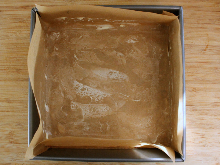 Line a square baking dish with greased parchment paper for easy caramel removal. Photo: Kate Williams