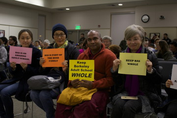 Some of the 100 supporters of the Berkeley Adult School at the board meeting. Photo: Seung Y. Lee