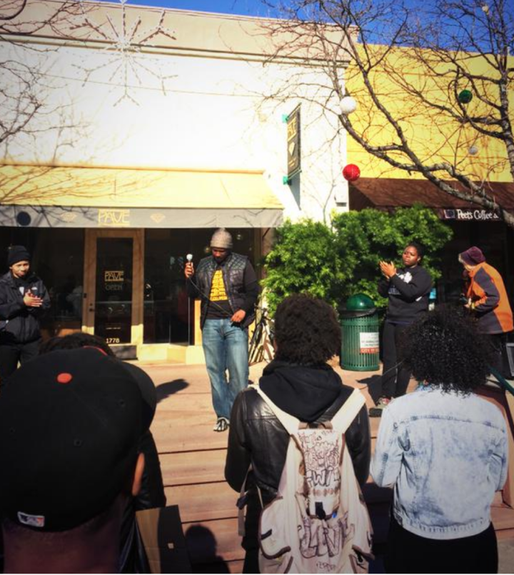 Students talking at Black Brunch protest on Fourth St. Photo: Blake Simons