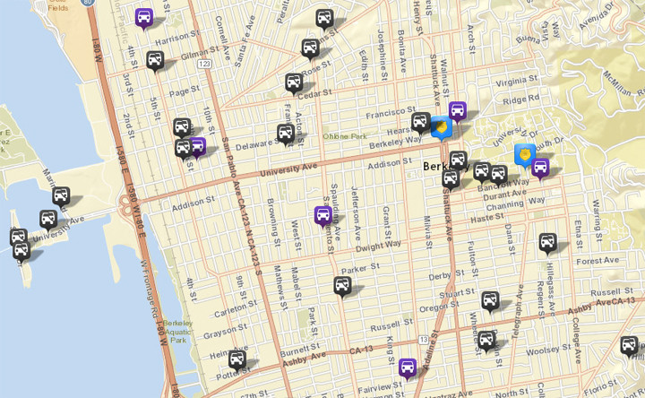 There were 23 thefts or burglaries from vehicles reported on CrimeMapping. There were 36 the prior week. There were also six vehicles stolen (in purple). Click the map for a list of incidents.