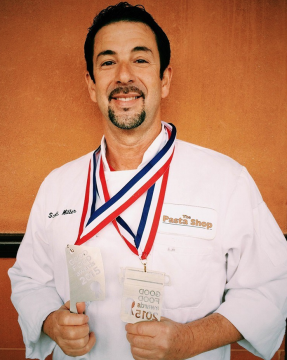 Rockridge Market Hall Chef Scott Miller with his Good Food Award medals. Photo: Market Hall
