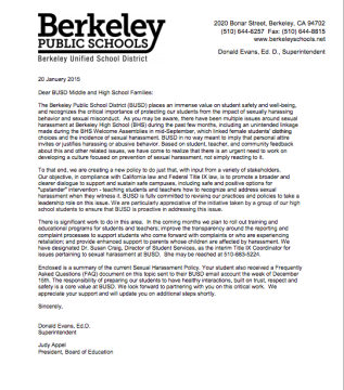 Feds launch civil rights investigation into berkeley for Sexual harassment letter template