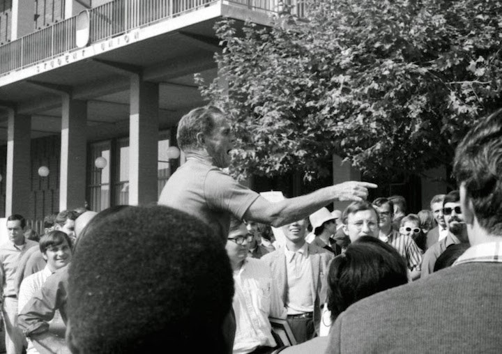 Holy Hubert at Sproul Plaza.  Photo (1968) courts of Bible Truth, https://rickroehm.wordpress.com.