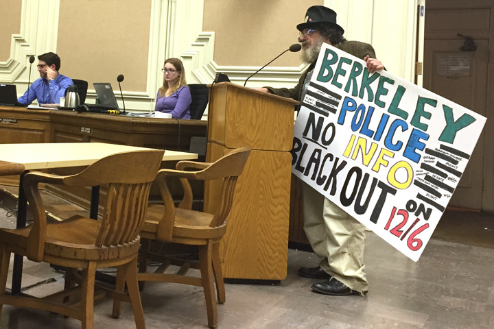 Berkeley homelessness advocate Michael Diehl and others said they were unhappy about redacted documents released recently by the Berkeley Police Department. Photo: Emilie Raguso