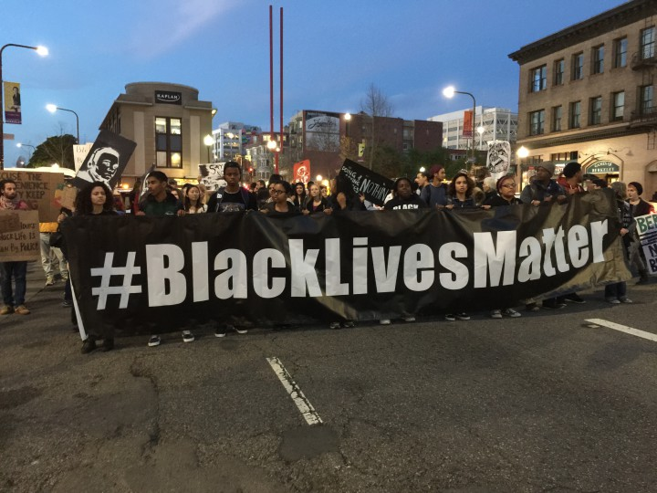 Protestors walked along Shattuck Avenue Tuesday night in a march meant tp pressure City Hall to take action on police use of tear gas on Dec. 6. Photo: Frances Dinkelspiel