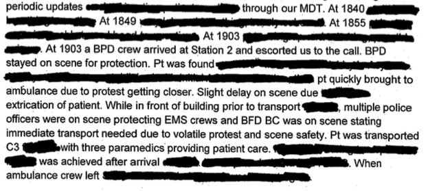 Parts of the Kittredge Street call were redacted by the Fire Department, which cited medical privacy laws. Image: Berkeley Fire Department
