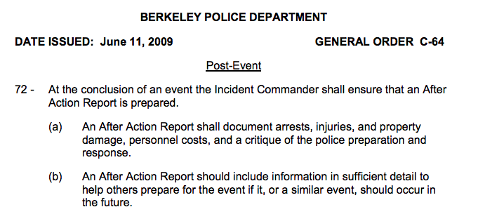 Read the complete General Order for crowd management and control. Source: Berkeley Police Department