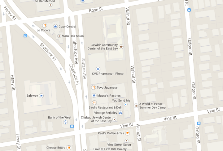 Map shows area including current location of North Berkeley farmers market and proposed new site. Image: Goolg Maps