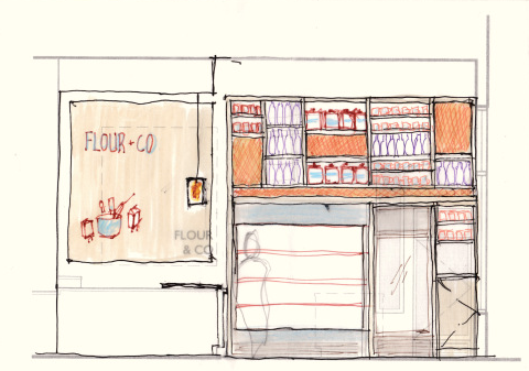 Sketch for a display wall at Flour & Co in Berkeley. Image: Abueg Morris Architects
