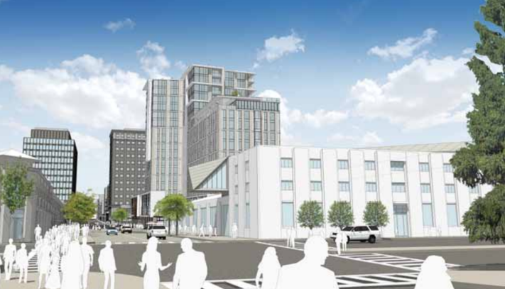 The Center Street frontage view of the hotel: the project puts a one-story mass next to the low-rise BAM/PFA, and steps the hotel floors back 50 feet along three-quarters of the frontage. Image: